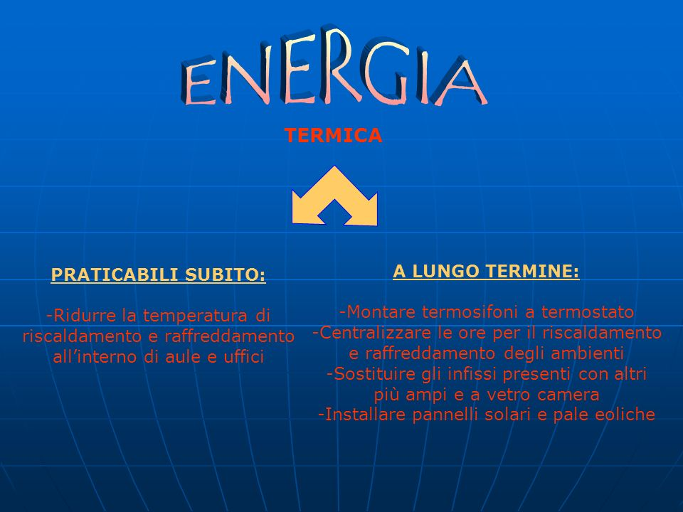 TERMICA PRATICABILI SUBITO: -Ridurre la temperatura di riscaldamento e raffreddamento allinterno di aule e uffici A LUNGO TERMINE: -Montare termosifoni a termostato -Centralizzare le ore per il riscaldamento e raffreddamento degli ambienti -Sostituire gli infissi presenti con altri più ampi e a vetro camera -Installare pannelli solari e pale eoliche