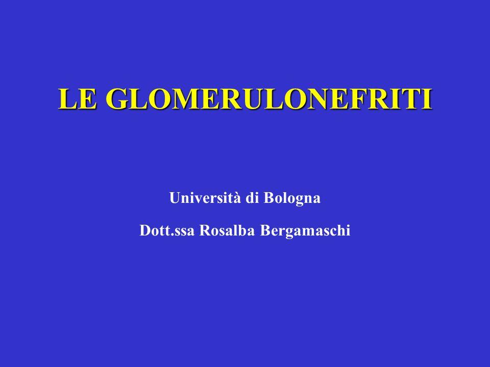 LE GLOMERULONEFRITI LE GLOMERULONEFRITI Università di Bologna Dott.ssa Rosalba Bergamaschi