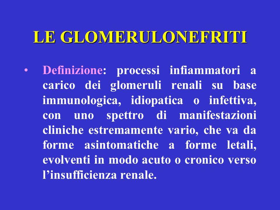 LE GLOMERULONEFRITI Definizione: processi infiammatori a carico dei glomeruli renali su base immunologica, idiopatica o infettiva, con uno spettro di