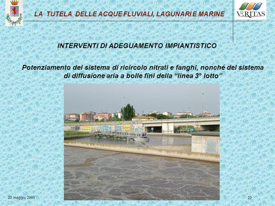 22 INTERVENTI DI ADEGUAMENTO IMPIANTISTICO Potenziamento del sistema di ricircolo nitrati e fanghi, nonché del sistema di diffusione aria a bolle fini