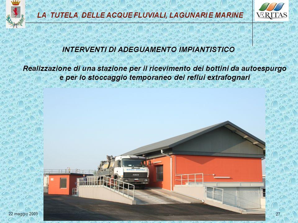 27 INTERVENTI DI ADEGUAMENTO IMPIANTISTICO Realizzazione di una stazione per il ricevimento dei bottini da autoespurgo e per lo stoccaggio temporaneo