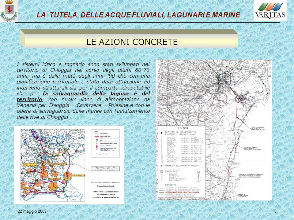 22 maggio 20098 I sistemi idrico e fognario sono stati sviluppati nel territorio di Chioggia nel corso degli ultimi 60-70 anni, ma è dalla metà degli