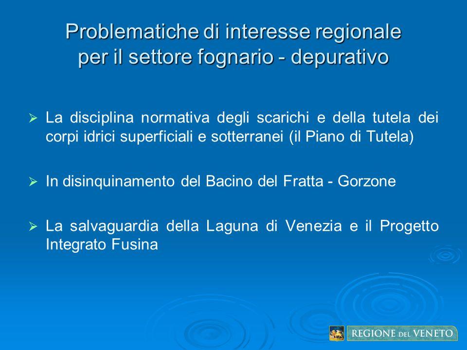 Problematiche di interesse regionale per il settore fognario - depurativo La disciplina normativa degli scarichi e della tutela dei corpi idrici super