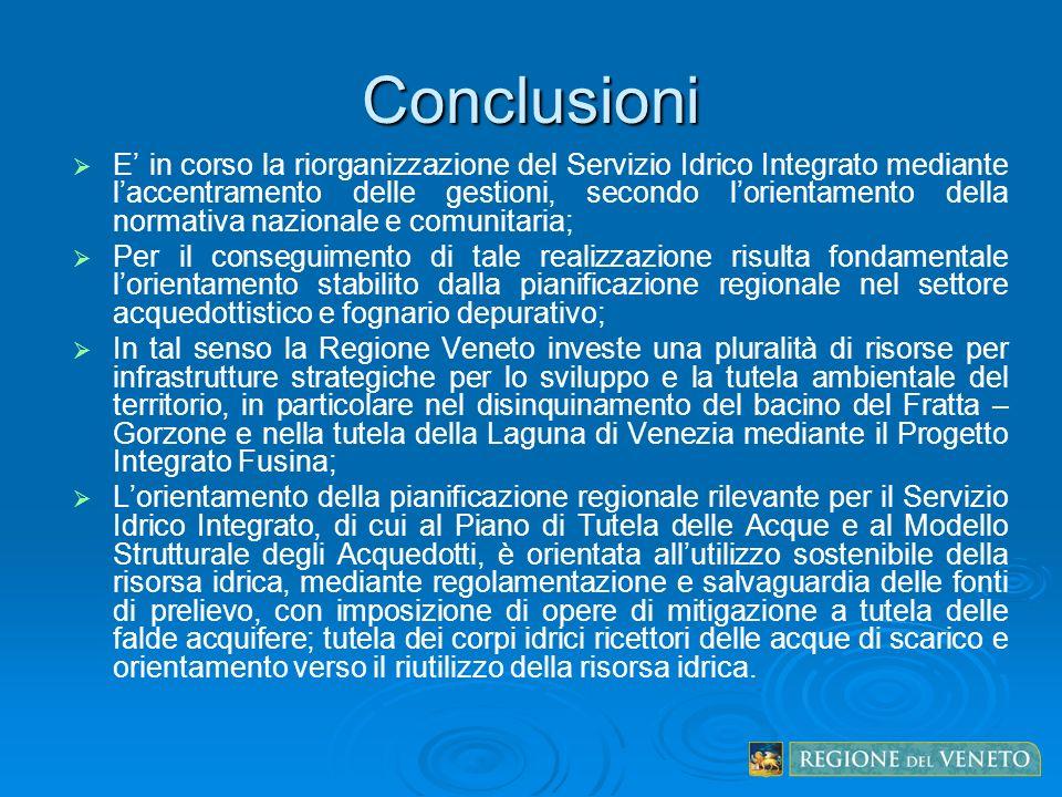 Conclusioni E in corso la riorganizzazione del Servizio Idrico Integrato mediante laccentramento delle gestioni, secondo lorientamento della normativa