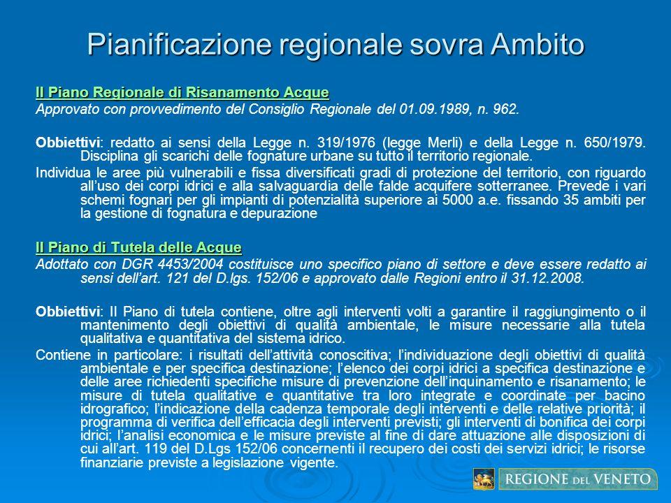 Pianificazione regionale sovra Ambito Il Piano Regionale di Risanamento Acque Approvato con provvedimento del Consiglio Regionale del 01.09.1989, n. 9