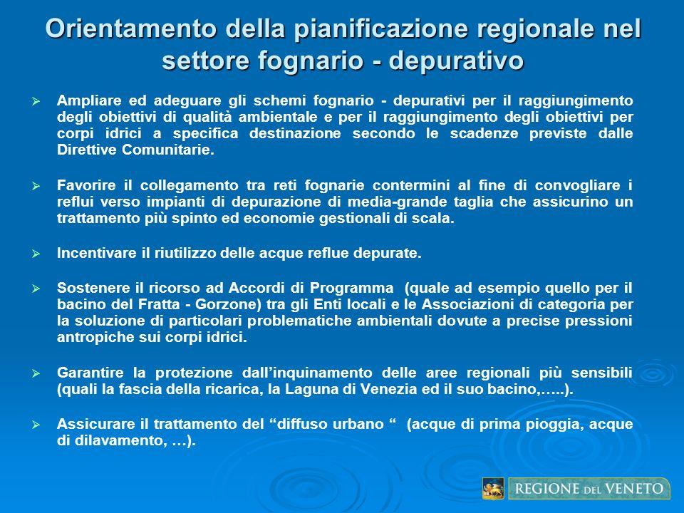 Orientamento della pianificazione regionale nel settore fognario - depurativo Ampliare ed adeguare gli schemi fognario - depurativi per il raggiungime