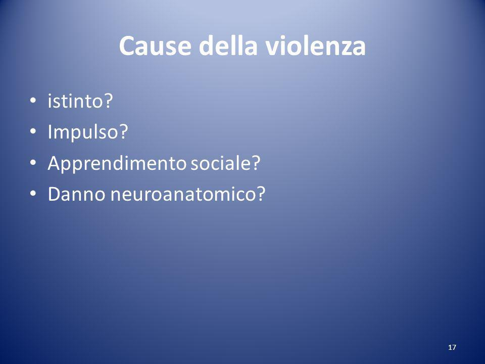 Cause della violenza istinto? Impulso? Apprendimento sociale? Danno neuroanatomico? 17