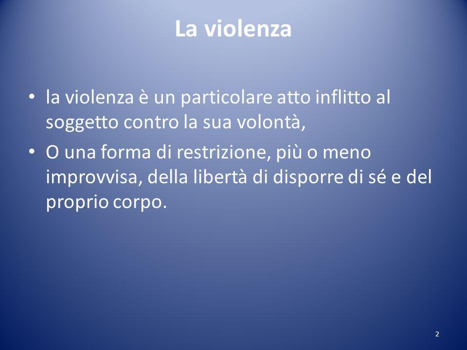 La violenza la violenza è un particolare atto inflitto al soggetto contro la sua volontà, O una forma di restrizione, più o meno improvvisa, della libertà di disporre di sé e del proprio corpo.