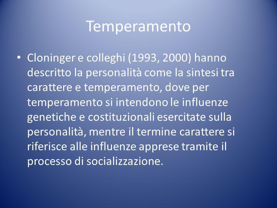 Temperamento Cloninger e colleghi (1993, 2000) hanno descritto la personalità come la sintesi tra carattere e temperamento, dove per temperamento si intendono le influenze genetiche e costituzionali esercitate sulla personalità, mentre il termine carattere si riferisce alle influenze apprese tramite il processo di socializzazione.