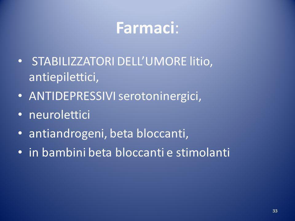 Farmaci: STABILIZZATORI DELLUMORE litio, antiepilettici, ANTIDEPRESSIVI serotoninergici, neurolettici antiandrogeni, beta bloccanti, in bambini beta bloccanti e stimolanti 33