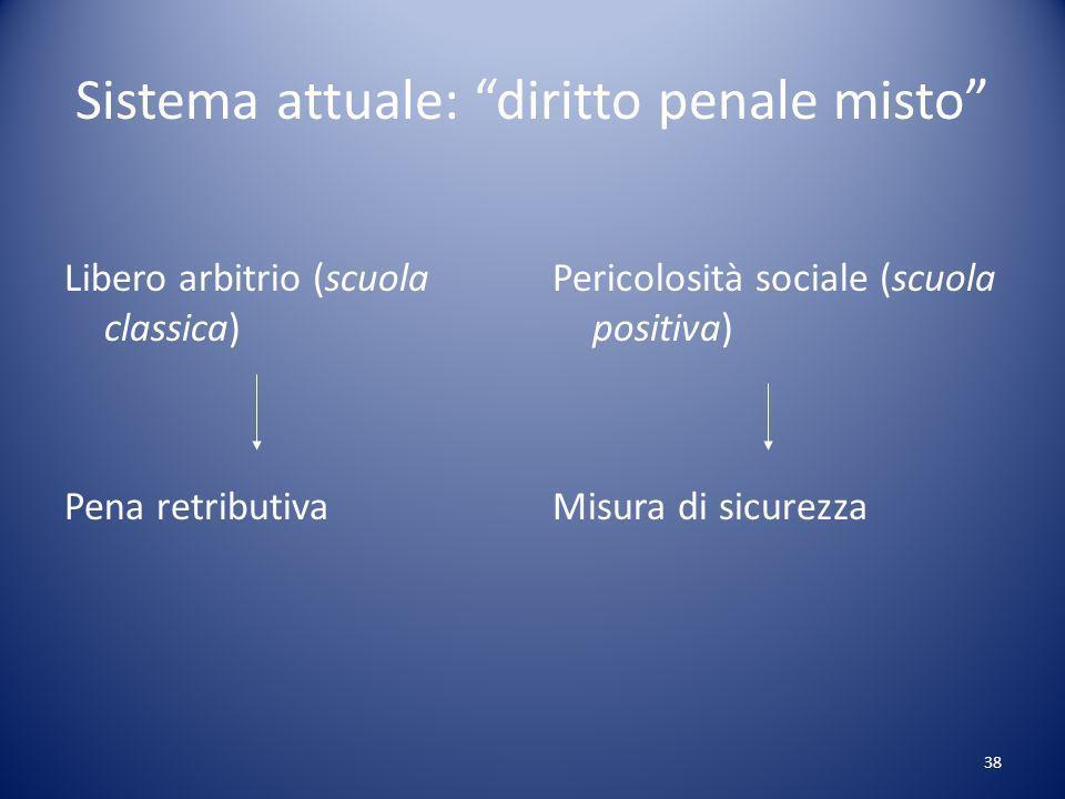 38 Sistema attuale: diritto penale misto Libero arbitrio (scuola classica) Pena retributiva Pericolosità sociale (scuola positiva) Misura di sicurezza