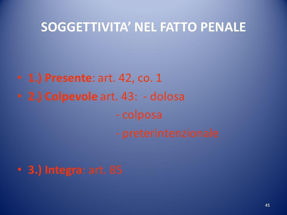 41 SOGGETTIVITA NEL FATTO PENALE 1.) Presente: art.