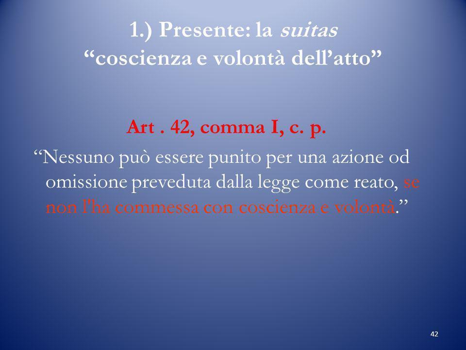 42 1.) Presente: la suitas coscienza e volontà dellatto Art.