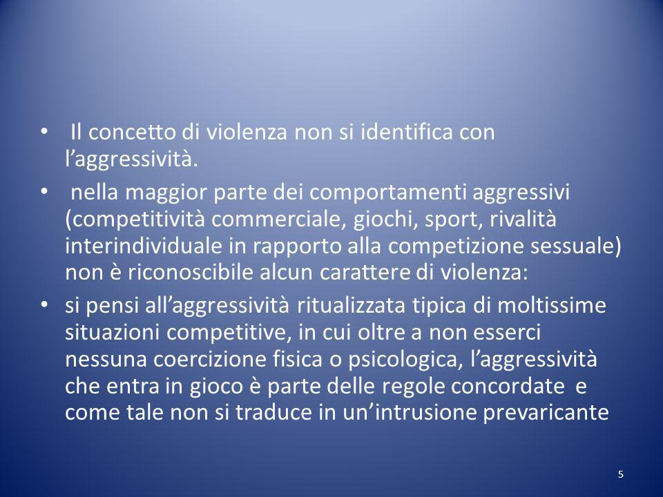 Il concetto di violenza non si identifica con laggressività.