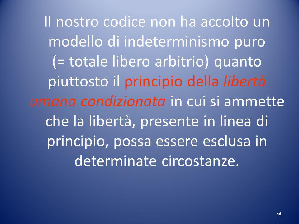 54 Il nostro codice non ha accolto un modello di indeterminismo puro (= totale libero arbitrio) quanto piuttosto il principio della libertà umana condizionata in cui si ammette che la libertà, presente in linea di principio, possa essere esclusa in determinate circostanze.