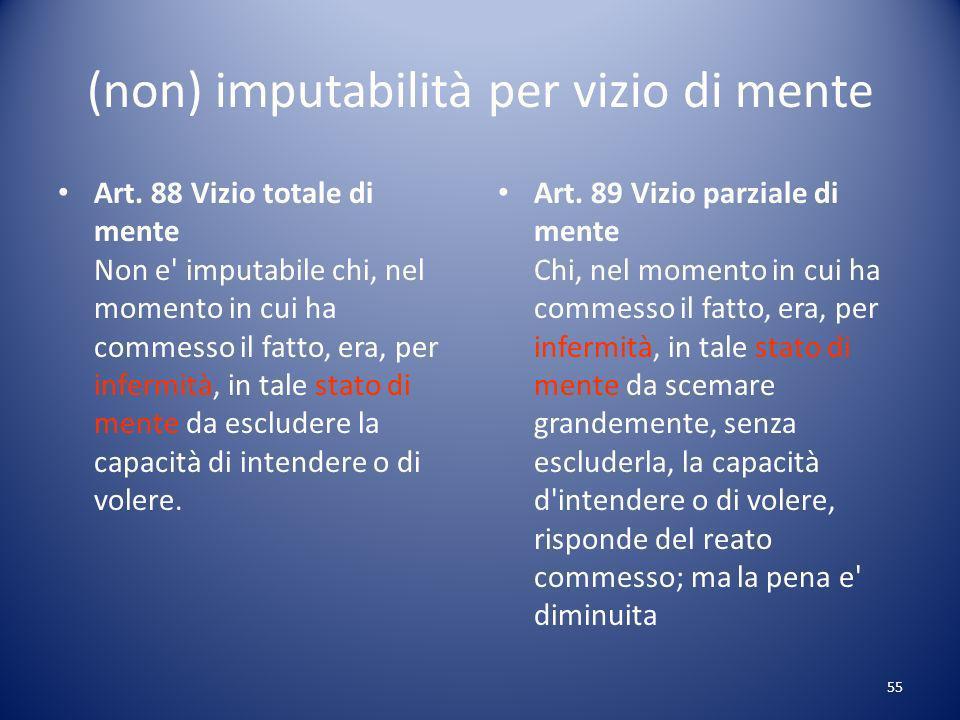 55 (non) imputabilità per vizio di mente Art.
