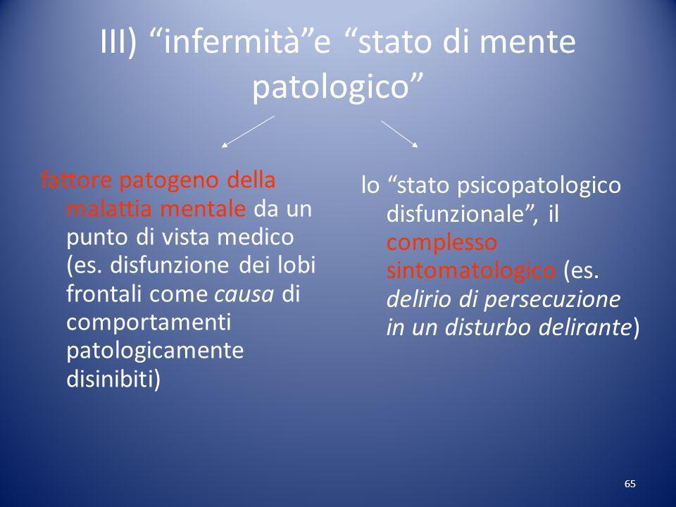 65 III) infermitàe stato di mente patologico fattore patogeno della malattia mentale da un punto di vista medico (es.