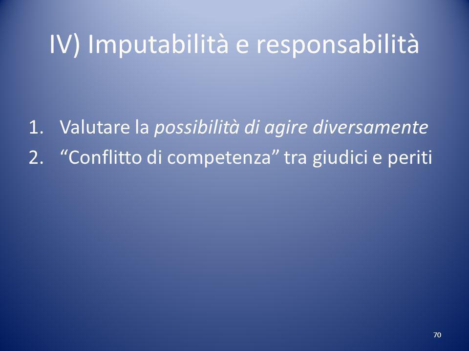 70 IV) Imputabilità e responsabilità 1.Valutare la possibilità di agire diversamente 2.Conflitto di competenza tra giudici e periti