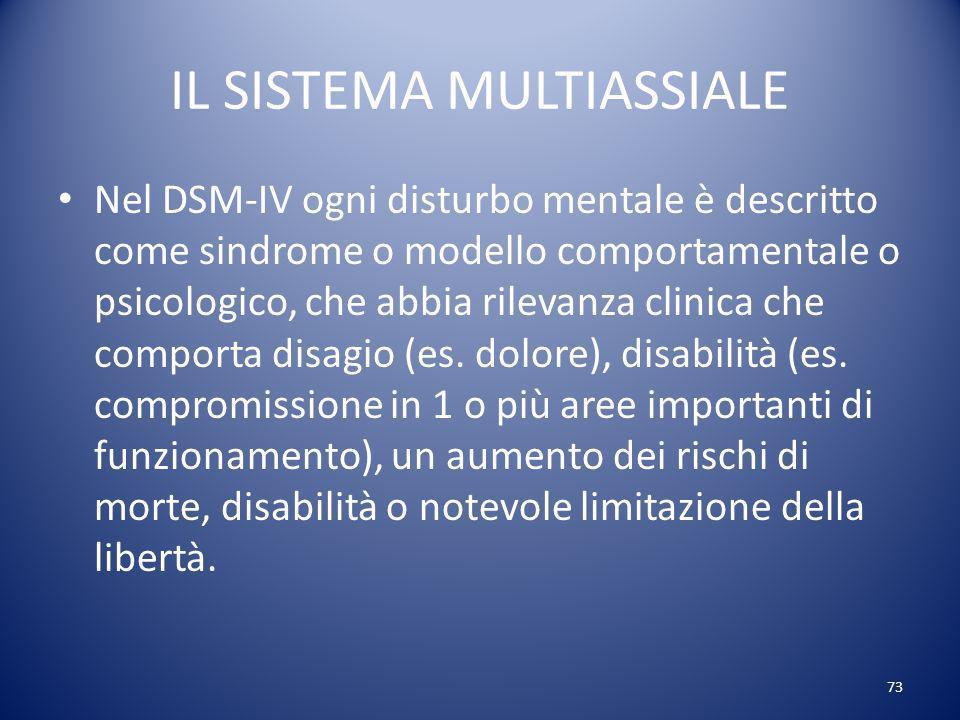 IL SISTEMA MULTIASSIALE Nel DSM IV ogni disturbo mentale è descritto come sindrome o modello comportamentale o psicologico, che abbia rilevanza clinica che comporta disagio (es.