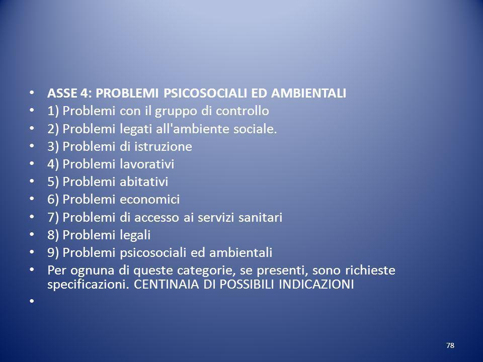 ASSE 4: PROBLEMI PSICOSOCIALI ED AMBIENTALI 1) Problemi con il gruppo di controllo 2) Problemi legati all ambiente sociale.