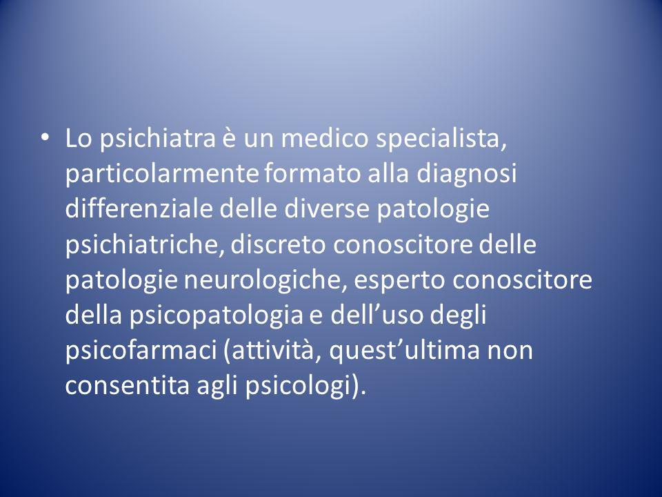 Tipici ambiti di intervento dello psichiatra consistono nella terapia integrata di sostegno psicologico e trattamento farmacologico per le patologie psicotiche.