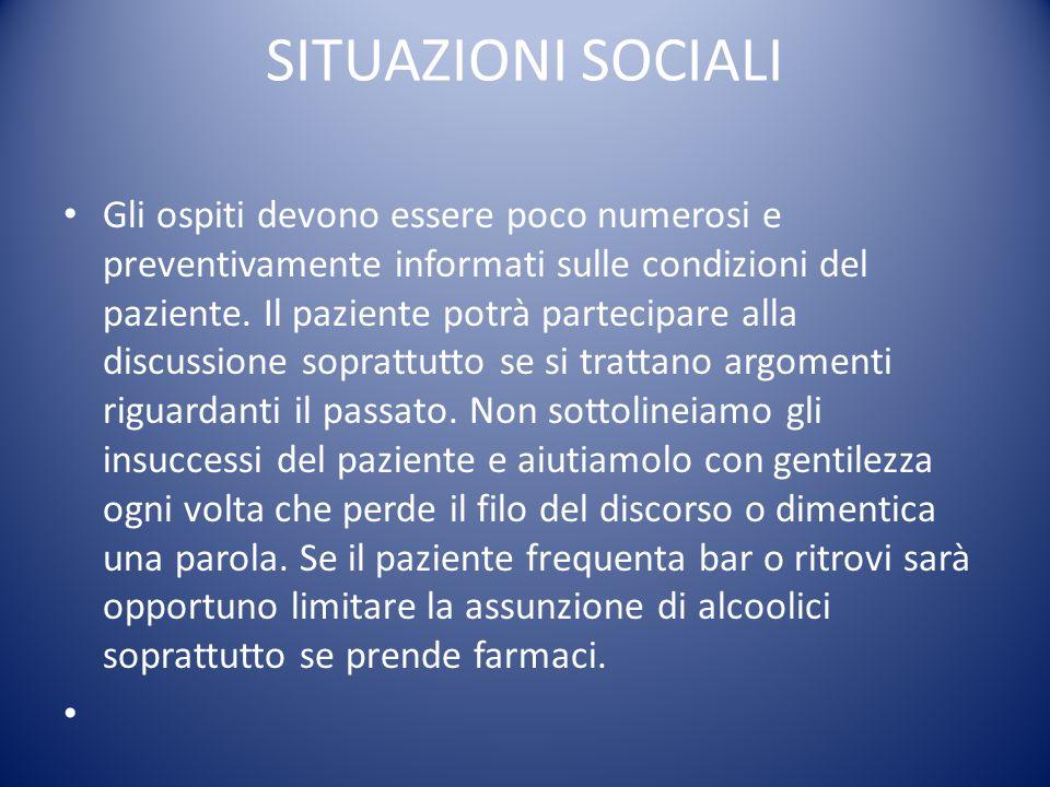 SITUAZIONI SOCIALI Gli ospiti devono essere poco numerosi e preventivamente informati sulle condizioni del paziente. Il paziente potrà partecipare all