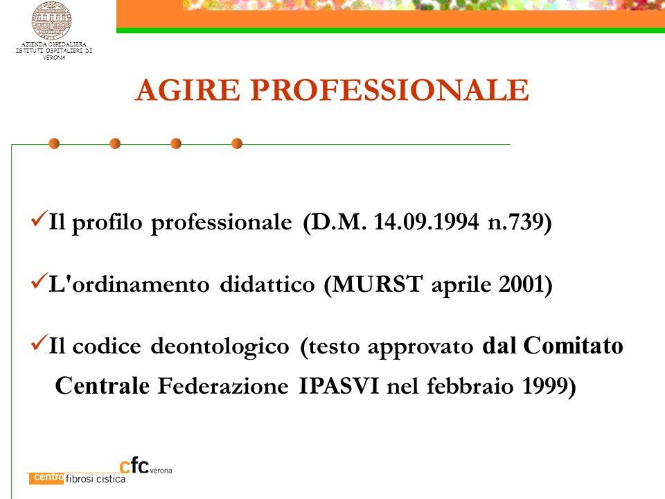AZIENDA OSPEDALIERA ISTITUTI OSPITALIERI DI VERONA AGIRE PROFESSIONALE Il profilo professionale (D.M. 14.09.1994 n.739) L'ordinamento didattico (MURST