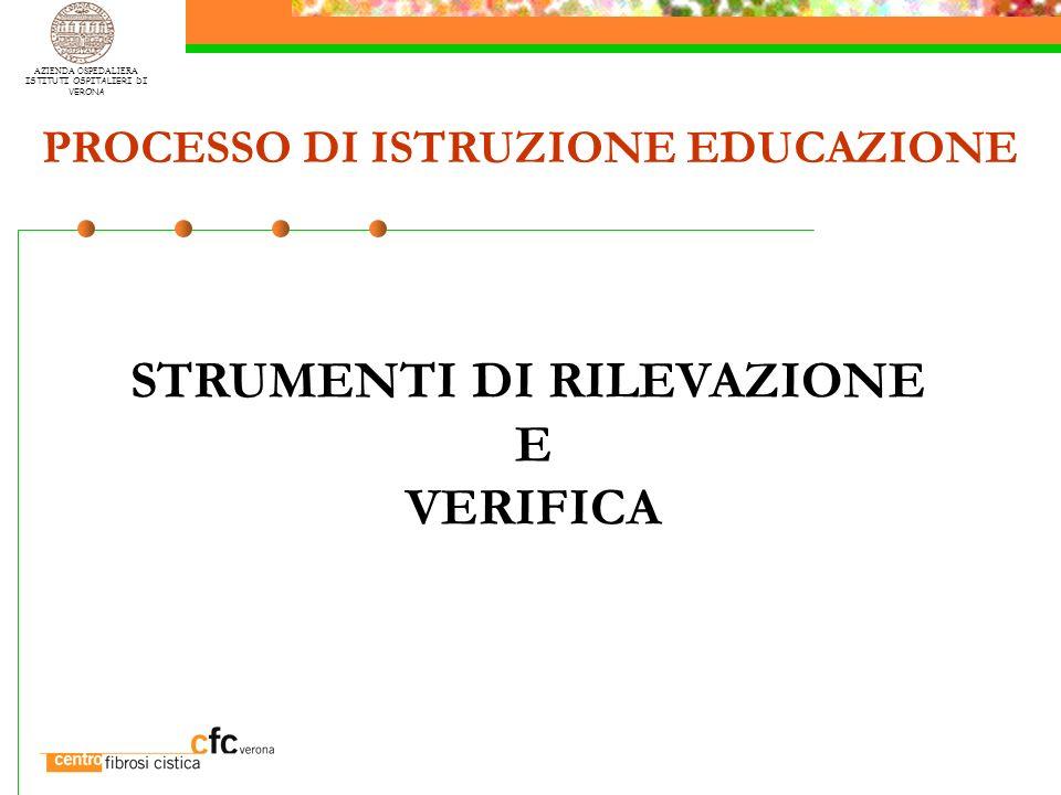 AZIENDA OSPEDALIERA ISTITUTI OSPITALIERI DI VERONA PROCESSO DI ISTRUZIONE EDUCAZIONE STRUMENTI DI RILEVAZIONE E VERIFICA