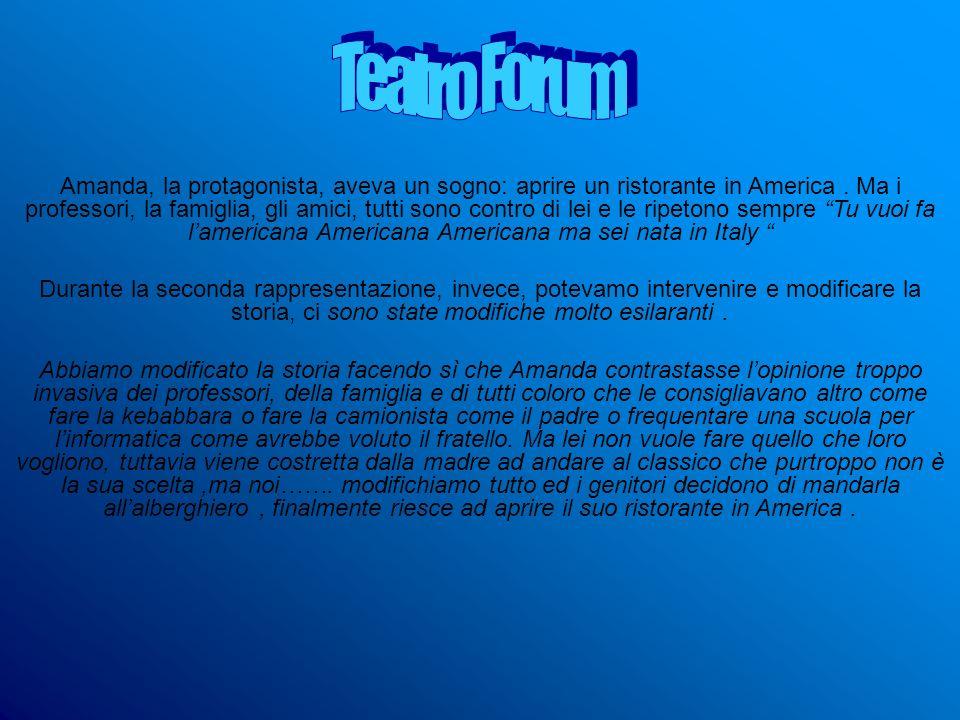Amanda, la protagonista, aveva un sogno: aprire un ristorante in America. Ma i professori, la famiglia, gli amici, tutti sono contro di lei e le ripet