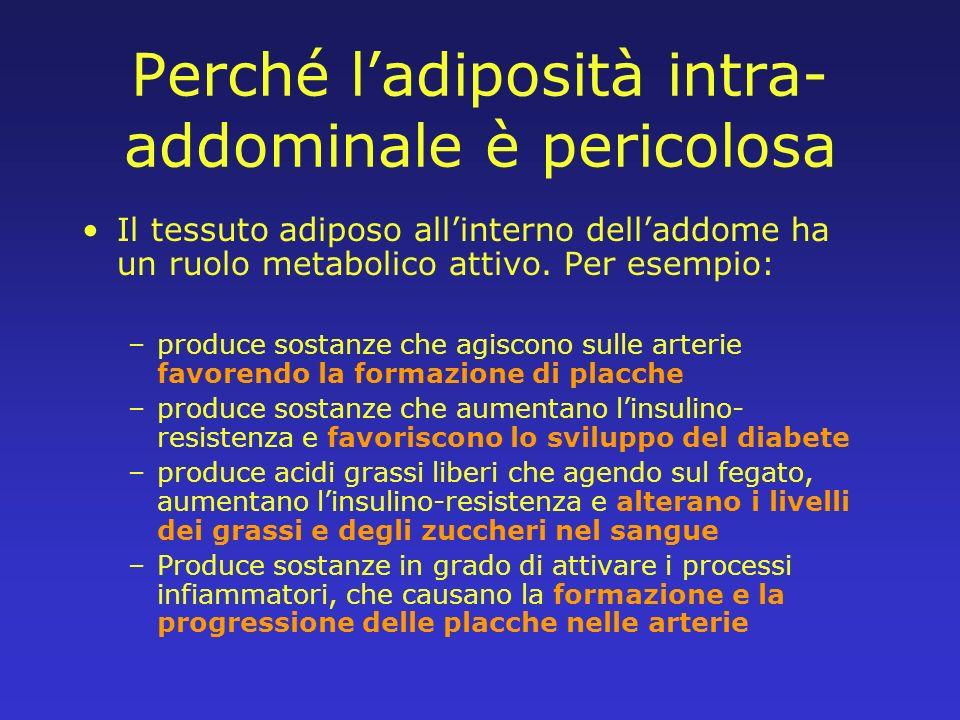 Perché ladiposità intra- addominale è pericolosa Il tessuto adiposo allinterno delladdome ha un ruolo metabolico attivo. Per esempio: –produce sostanz