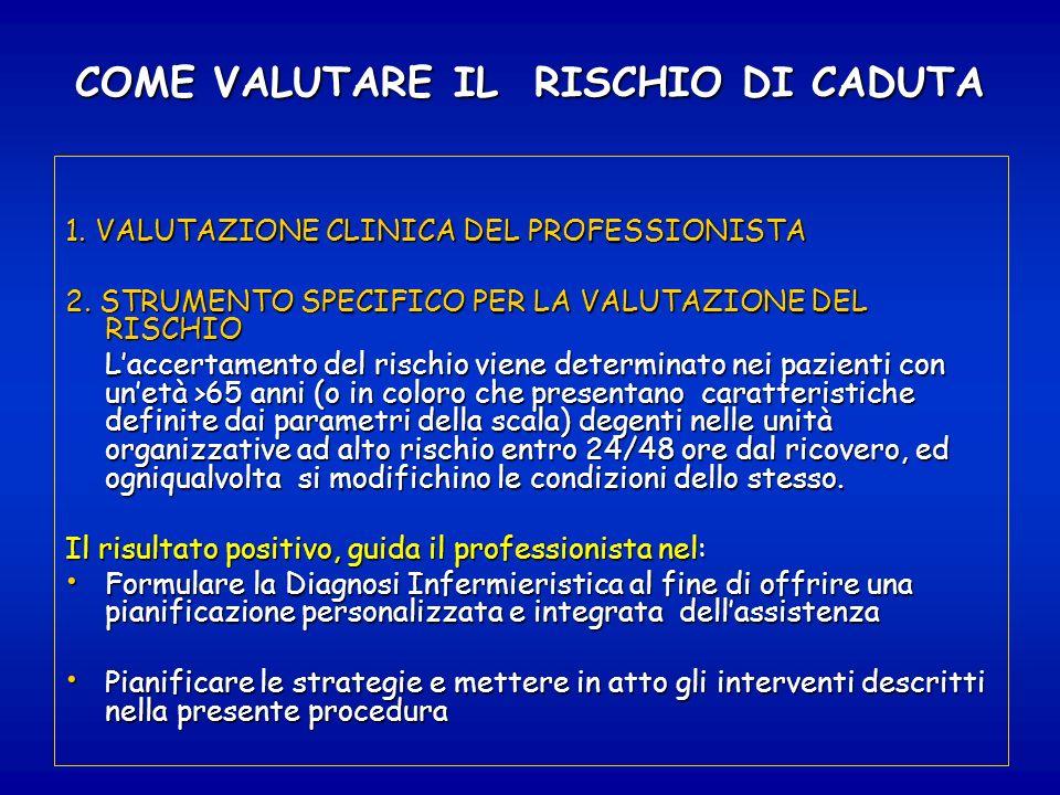 COME VALUTARE IL RISCHIO DI CADUTA 1. VALUTAZIONE CLINICA DEL PROFESSIONISTA 2. STRUMENTO SPECIFICO PER LA VALUTAZIONE DEL RISCHIO Laccertamento del r