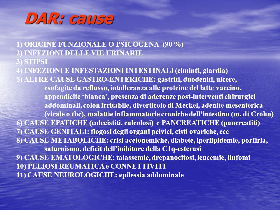 DAR: cause 1) ORIGINE FUNZIONALE O PSICOGENA (90 %) 2) INFEZIONI DELLE VIE URINARIE 3) STIPSI 4) INFEZIONI E INFESTAZIONI INTESTINALI (elminti, giardi