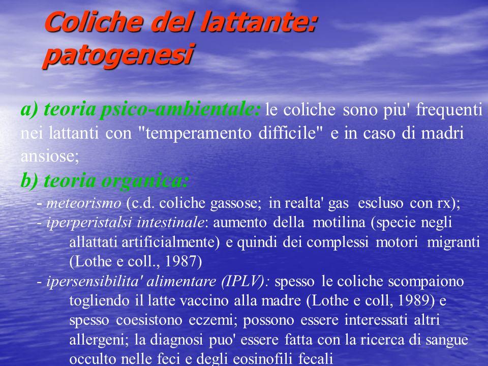 Coliche del lattante: patogenesi a) teoria psico-ambientale: le coliche sono piu' frequenti nei lattanti con