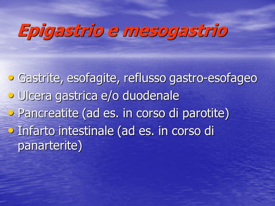 Epigastrio e mesogastrio Gastrite, esofagite, reflusso gastro-esofageo Gastrite, esofagite, reflusso gastro-esofageo Ulcera gastrica e/o duodenale Ulc