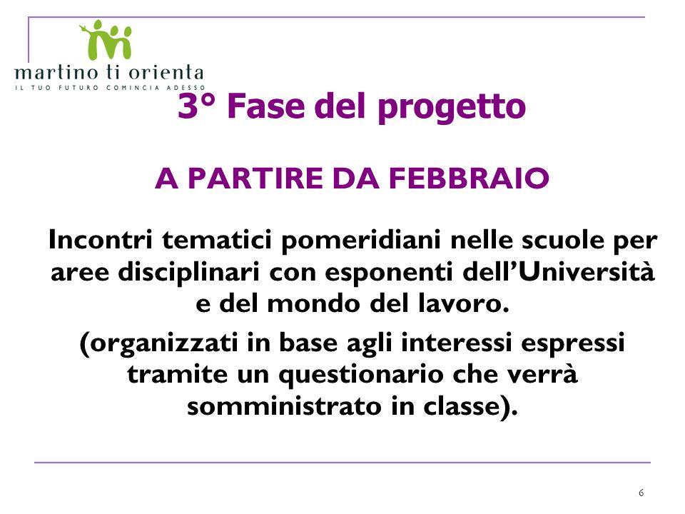 6 3° Fase del progetto A PARTIRE DA FEBBRAIO Incontri tematici pomeridiani nelle scuole per aree disciplinari con esponenti dellUniversità e del mondo del lavoro.