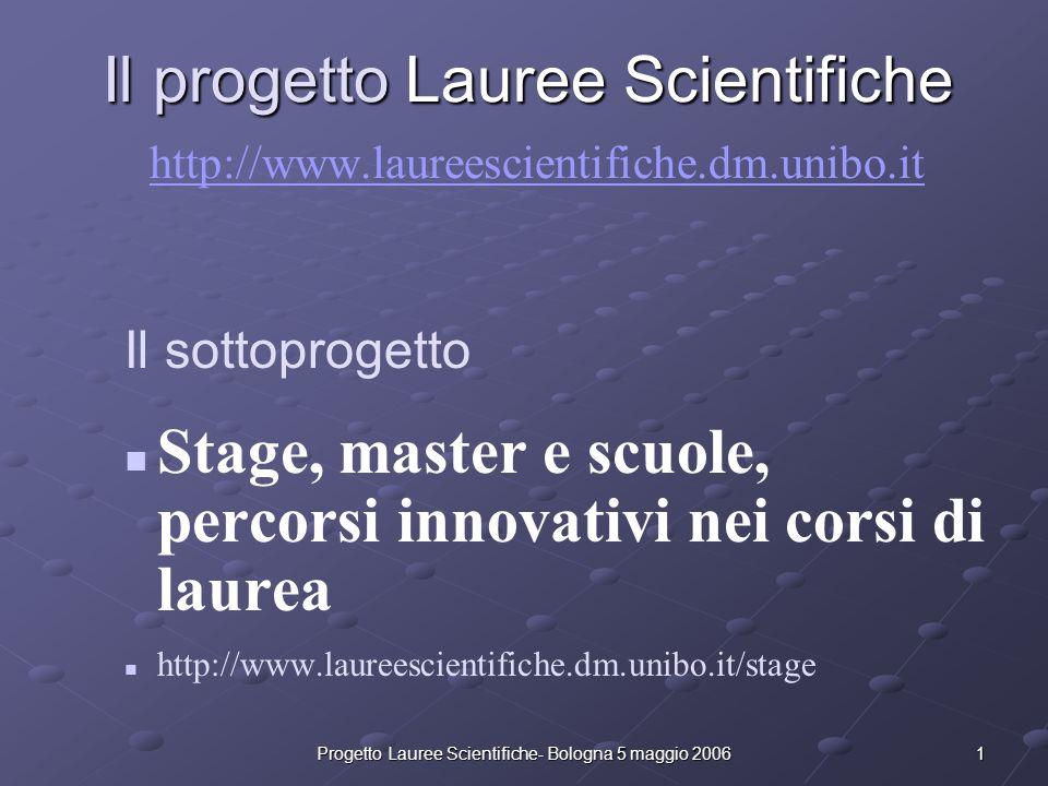 Progetto Lauree Scientifiche- Bologna 5 maggio 2006 2 Il Progetto Lauree Scientifiche è un progetto finanziato dal MIUR per cercare di combattere la crescente disaffezione dei giovani nei confronti degli studi scientifici e in particolare della chimica, della fisica e della matematica.