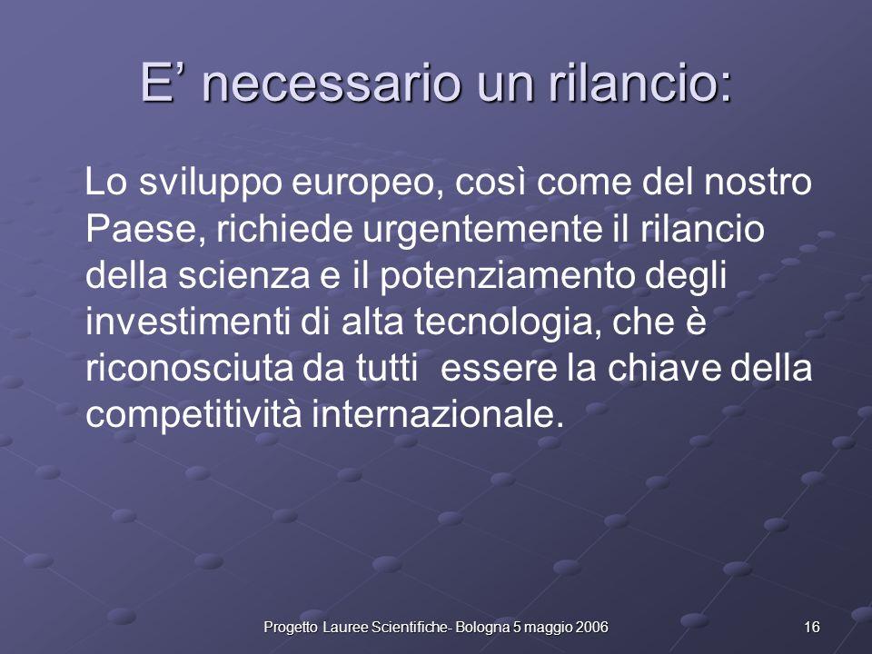 16Progetto Lauree Scientifiche- Bologna 5 maggio 2006 E necessario un rilancio: Lo sviluppo europeo, così come del nostro Paese, richiede urgentemente