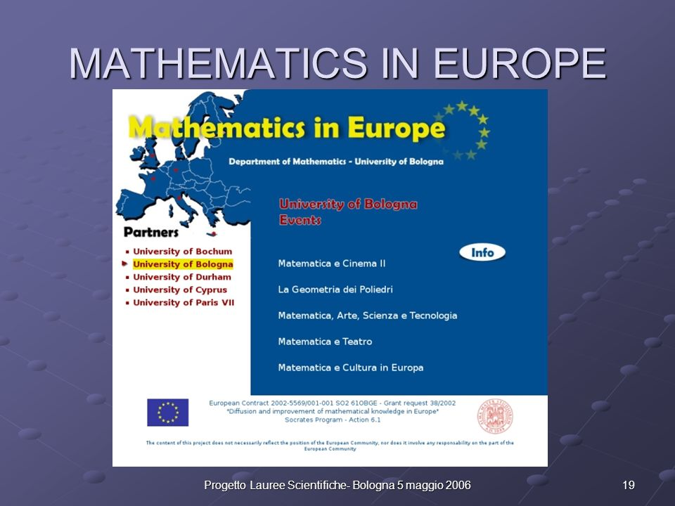 19Progetto Lauree Scientifiche- Bologna 5 maggio 2006 MATHEMATICS IN EUROPE