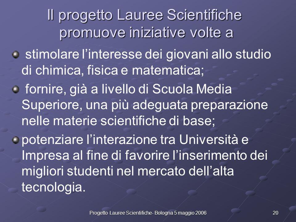 20Progetto Lauree Scientifiche- Bologna 5 maggio 2006 Il progetto Lauree Scientifiche promuove iniziative volte a stimolare linteresse dei giovani all