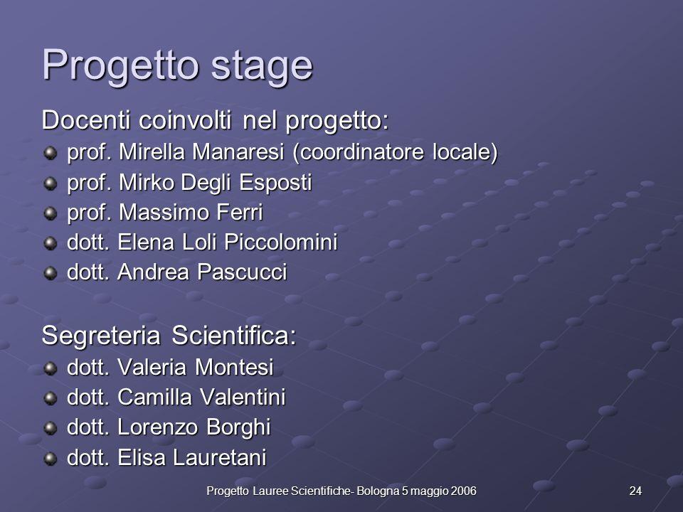 24Progetto Lauree Scientifiche- Bologna 5 maggio 2006 Progetto stage Docenti coinvolti nel progetto: prof. Mirella Manaresi (coordinatore locale) prof