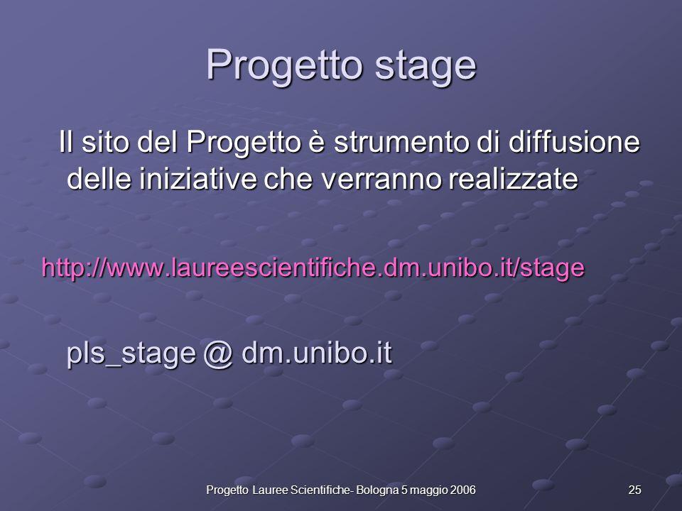 25Progetto Lauree Scientifiche- Bologna 5 maggio 2006 Progetto stage Il sito del Progetto è strumento di diffusione delle iniziative che verranno real