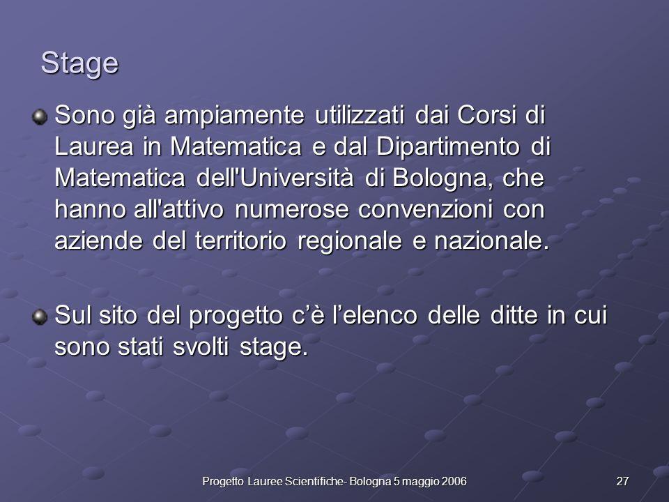 27Progetto Lauree Scientifiche- Bologna 5 maggio 2006 Stage Sono già ampiamente utilizzati dai Corsi di Laurea in Matematica e dal Dipartimento di Mat