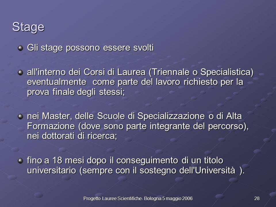 28Progetto Lauree Scientifiche- Bologna 5 maggio 2006 Stage Gli stage possono essere svolti all'interno dei Corsi di Laurea (Triennale o Specialistica