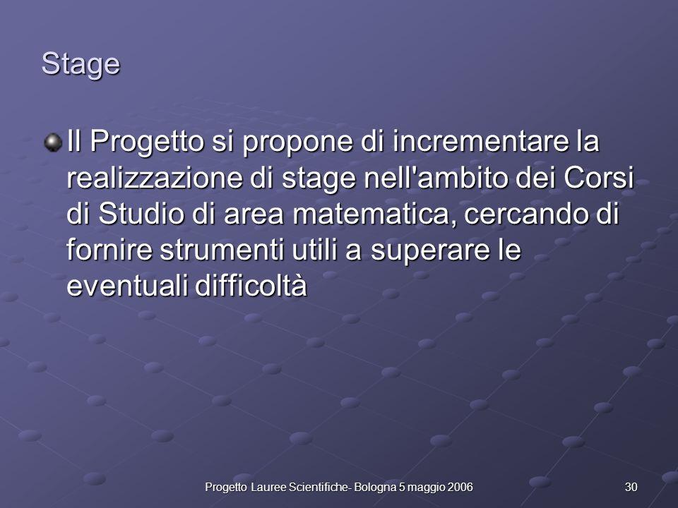 30Progetto Lauree Scientifiche- Bologna 5 maggio 2006 Stage Il Progetto si propone di incrementare la realizzazione di stage nell'ambito dei Corsi di