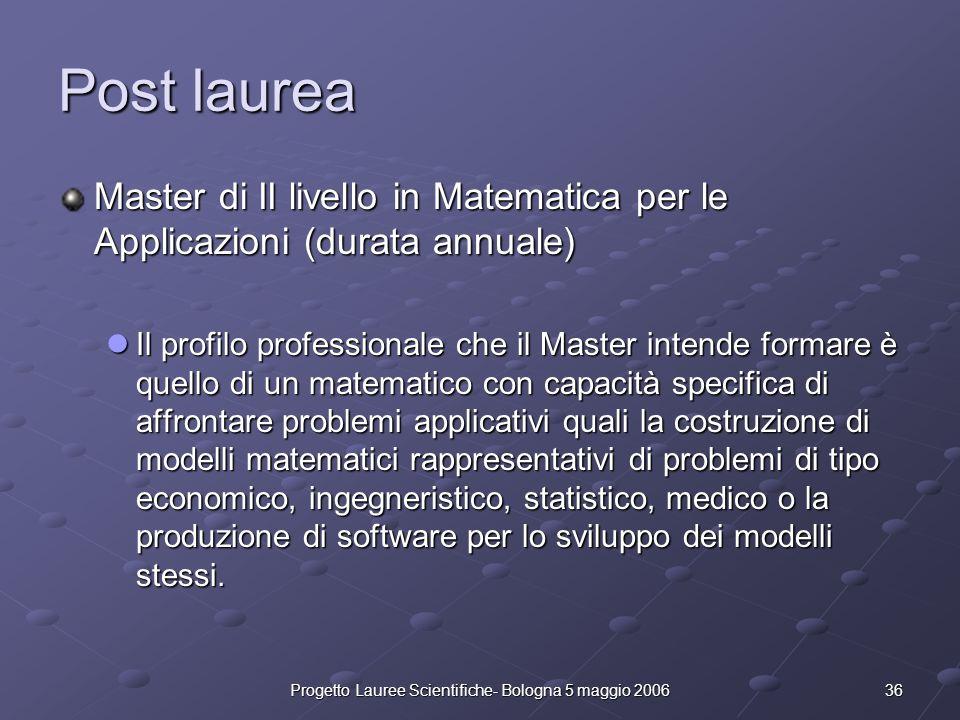 36Progetto Lauree Scientifiche- Bologna 5 maggio 2006 Post laurea Master di II livello in Matematica per le Applicazioni (durata annuale) Il profilo p