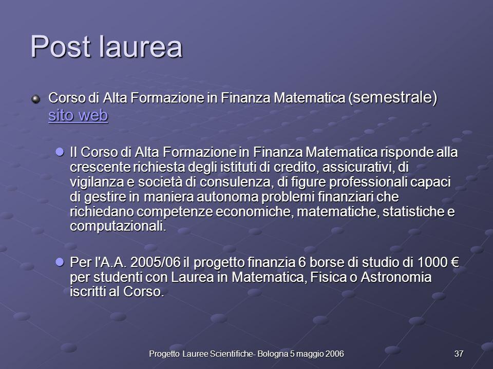 37Progetto Lauree Scientifiche- Bologna 5 maggio 2006 Post laurea Corso di Alta Formazione in Finanza Matematica ( semestrale) sito web sito web sito