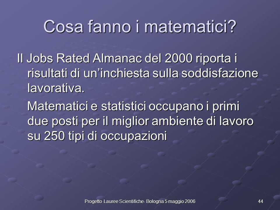 44Progetto Lauree Scientifiche- Bologna 5 maggio 2006 Cosa fanno i matematici? Il Jobs Rated Almanac del 2000 riporta i risultati di uninchiesta sulla