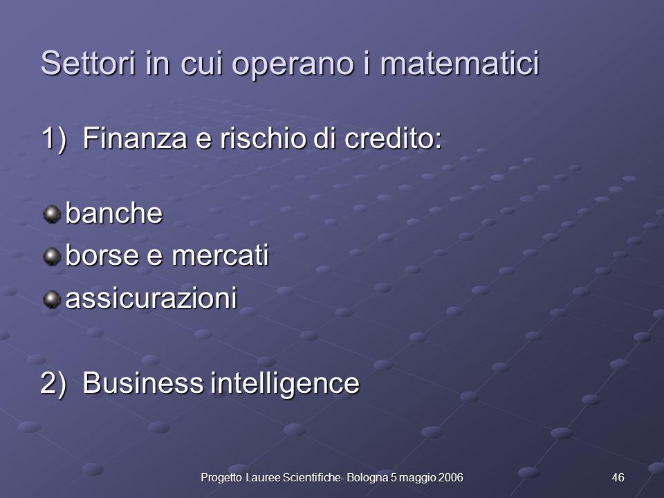 46Progetto Lauree Scientifiche- Bologna 5 maggio 2006 Settori in cui operano i matematici 1) Finanza e rischio di credito: banche borse e mercati assi