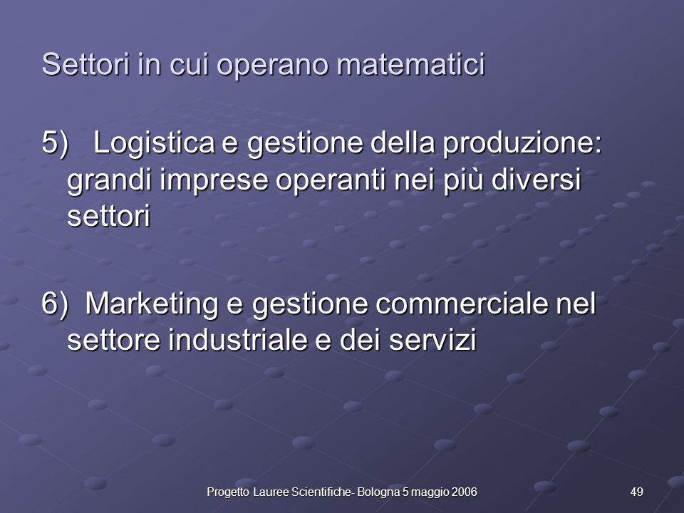 49Progetto Lauree Scientifiche- Bologna 5 maggio 2006 Settori in cui operano matematici 5) Logistica e gestione della produzione: grandi imprese opera