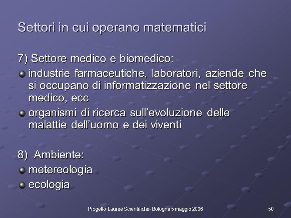 50Progetto Lauree Scientifiche- Bologna 5 maggio 2006 Settori in cui operano matematici 7) Settore medico e biomedico: industrie farmaceutiche, labora
